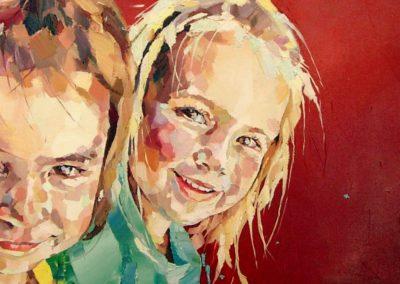 2 personnes - 30 x 100 cm - huile sur toile 1