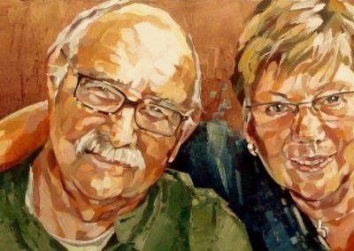 2 personnes - 30 x 70 cm - huile sur toile 1