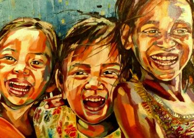 """""""Amistad"""" (huile sur toile) - 120 x 40 cm (à vendre)"""