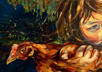 """""""Andrea"""" (huile sur toile) - 90 x 30 cm (à vendre)"""