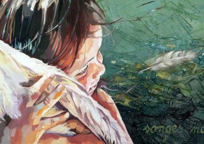 """""""Andrea"""" (huile sur toile) - 90 x 30 cm (vendu)"""