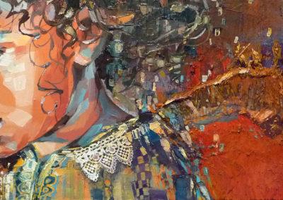 """Angela"" (huile sur toile - mixed media) - 90 x 30 cm (vendu)"