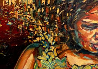 """""""Butterfly girl"""" (huile sur toile) - 90 x 30 cm (à vendre)"""