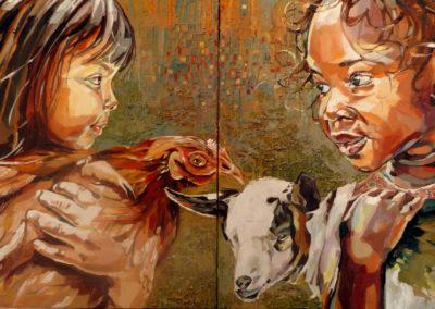 """""""Dyptique"""" (huile sur toile) - 2x 50 x 50 cm (à vendre)"""