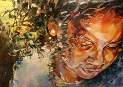 """""""Esmeralda"""" (huile sur toile) - 120 x 70 cm (vendu)"""