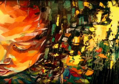 """""""Fleur"""" (huile sur toile - mixed media) - 90 x 30 cm (vendu)"""