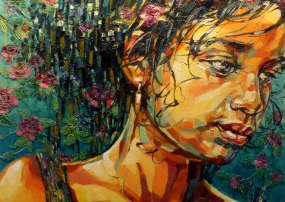 """""""Frieda"""" (huile sur toile) - 80 x 80 cm (à vendre)"""