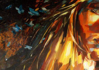 """""""Jona"""" (huile sur toile - mixed media) - 90 x 30 cm (vendu)"""
