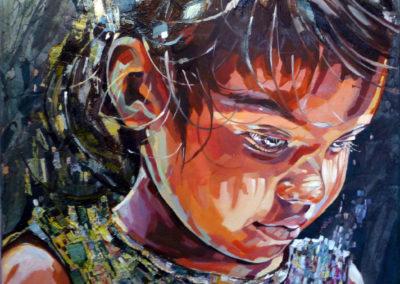 """""""Juliete"""" (huile sur toile - mixed media) - 80 x 80 cm (vendu)"""