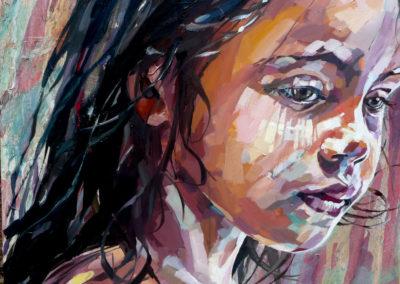 """""""Juliette"""" (huile sur toile - mixed media) - 90 x 90 cm (vendu)"""