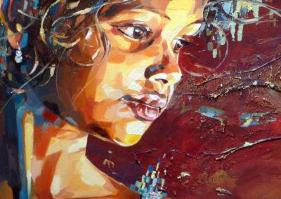"""""""La fille du feu"""" (huile sur toile) - 90 x 30 cm (vendu)"""