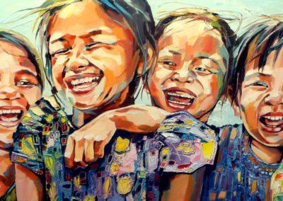 """""""La joie"""" (huile sur toile) - 120 x 40 cm (vendu)"""