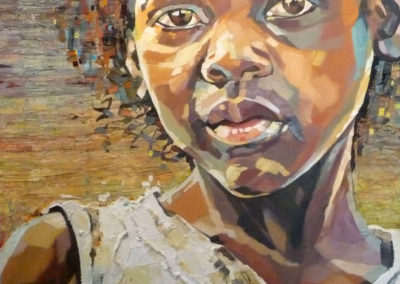 """Layla"" (huile sur toile - mixed media) - 80 x 90 cm (vendu)"