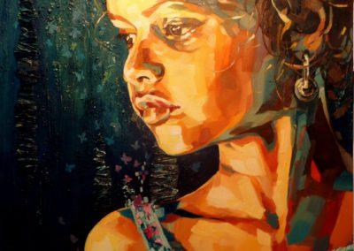 """Mariposa"" (huile sur toile - mixed media) - 80 x 80 cm (vendu)"