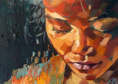 """""""Meditacion"""" (huile sur toile) - 24 x 18 cm (vendu)"""