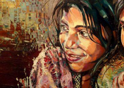 """""""Ninos del viento"""" (huile sur toile) - 90 x 30 cm (vendu)"""