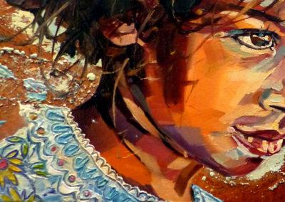 """Regard intense"" (huile sur toile) - 30 x 15 cm (vendu)"