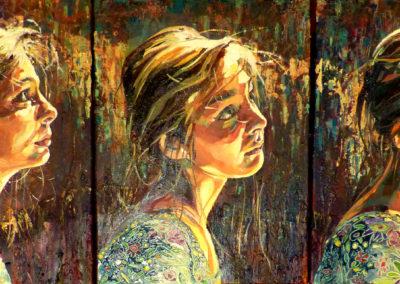 """""""Tryptique"""" (huile sur toile) - 120 x 30 cm (vendu)"""