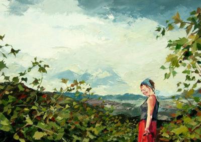 """""""Ciel orageux, novembre"""" (huile sur toile) - B x H cm (te koop)"""