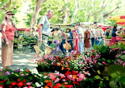 """""""Le marché en printemps"""" (huile sur toile) - 100 x 100 cm (te koop)"""