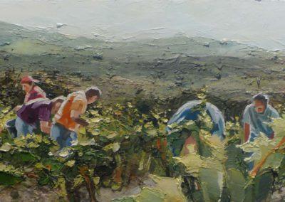 """""""Les Pradals"""" (huile sur toile) - 90 x 30 cm (verkocht)"""