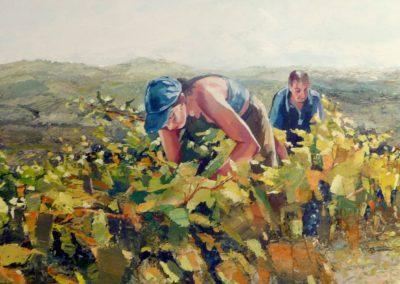 """""""Les vignes d'Olargues"""" (huile sur toile) - 120 x H40 cm (verkocht)"""