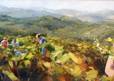 """""""Les vignes et les colinnes"""" (huile sur toile) - 90 x 30 cm (verkocht)"""