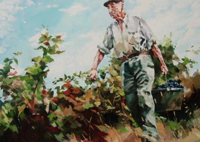 """""""Lucien, bon pied, bon oeil a 80 ans"""" (huile sur toile) - 119 x 90 cm (verkocht)"""