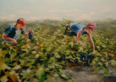"""""""Lucien dans les vignes de tarassac"""" (huile sur toile) - 180 x 60 cm (verkocht)"""