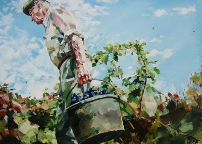 """""""Lucien la voulte"""" (huile sur toile) - 120 x 90 cm (verkocht)"""