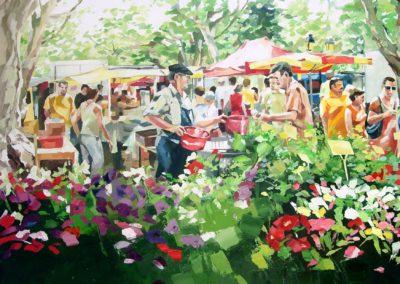 """""""Markt"""" (huile sur toile) - 70 x 90 cm (verkocht)"""