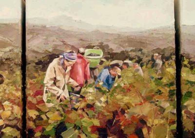 """""""Tryptique, Vendanges dans la valée"""" (huile sur toile) - 3x 30 x 30 cm (verkocht)"""