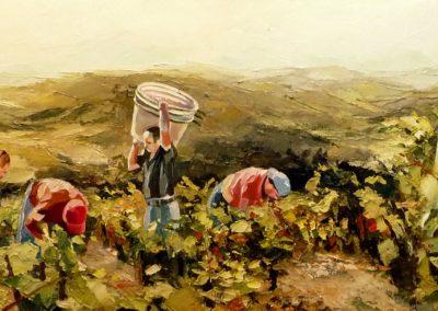 """""""Vendange sur Olargues"""" (huile sur toile) - 120 x 40 cm (te koop)"""