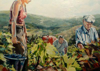 """""""Vendanger à Mons"""" (huile sur toile) - 80 x 80 cm (te koop)"""
