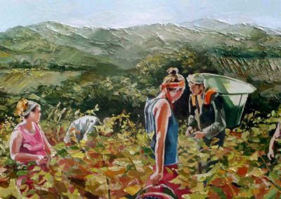 """""""Vendanger chez thierry"""" (huile sur toile) - 150 x 50 cm (verkocht)"""