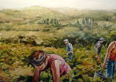 """""""Vendanger"""" (huile sur toile) - 180 x 70 cm (verkocht)"""