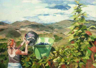 """""""Vue sur Ceps"""" (huile sur toile) - 70 x 70 cm (verkocht)"""
